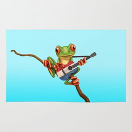 Tree Frog Playing Acoustic Guitar with Flag of The Netherlands Rug