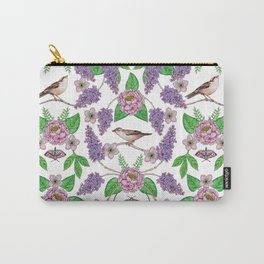 Lilacs, Peonies, Hellebore, & Sparrows - Pink & Purple Flowers w/ Birds & Moths Carry-All Pouch