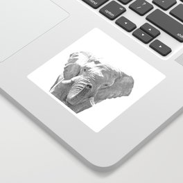 Black and white elephant illustration Sticker