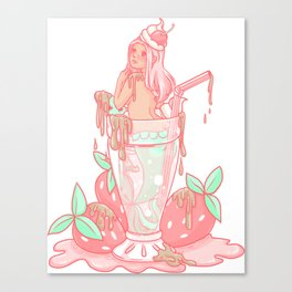 Strawberry Mermaid Shake Canvas Print
