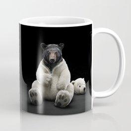 Black bear wearing polar bear costume Coffee Mug