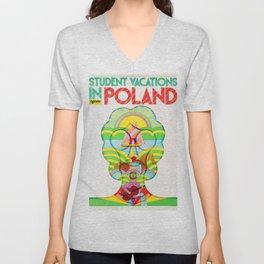 Poland - Vintage 1960s Vintage Poster Unisex V-Neck