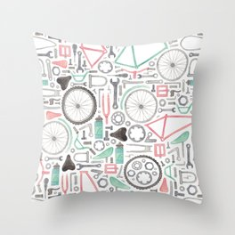 Cycling Bike Parts Throw Pillow