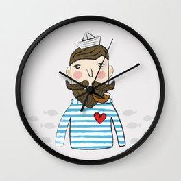 Lovely Bearded Sailor Man Illustration Wall Clock