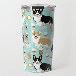 Corgis and coffee pillow phone case corgi gift cute cardigan corgi art Travel Mug
