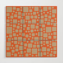 abstract cells pattern in orange and beige Wood Wall Art
