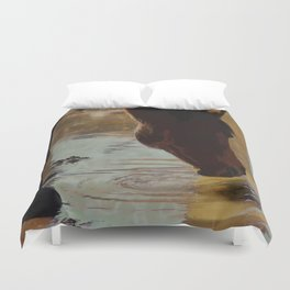 The Watering Hole  - Drinking Percheron Horse Duvet Cover