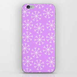 Hand painted modern lilac white Christmas snow flakes iPhone Skin