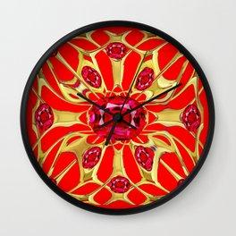 Red Rubies Gold Jewelry July Birthstone Art Wall Clock