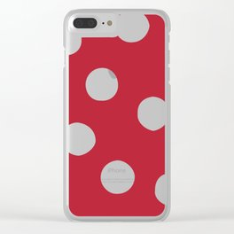 Red Random Polka Dots Clear iPhone Case