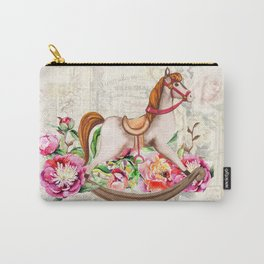 Vintage Collage and Rocking Horse Carry-All Pouch