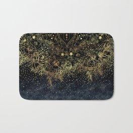 Stylish Gold floral mandala and confetti Bath Mat
