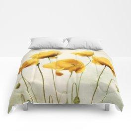 Yellow Poppies Comforters