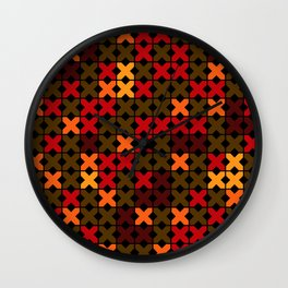 An abstract geometric pattern . Rustic . Wall Clock