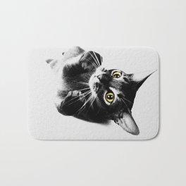 Cute Abyssinian cat  black and white Bath Mat