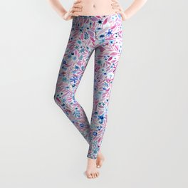 Pink and Blue Floral Leggings