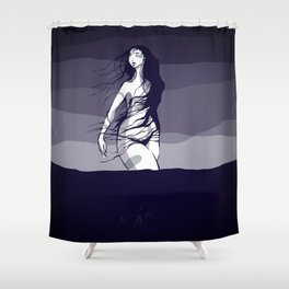 Woman in the ocean  Shower Curtain