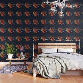 Wake Up Monoline Rooster Graphic Wallpaper