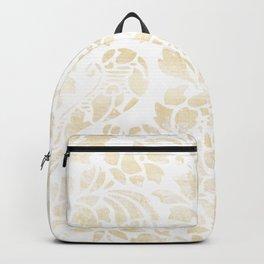 Vintage Floral Pattern White Wash Backpack