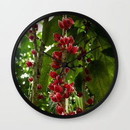 Red Flowers with Green leaf background Wall Clock