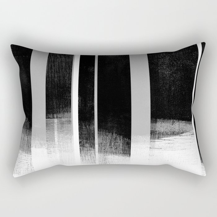 Black and White Retro Style Geometric Abstract - Codex Rectangular Pillow