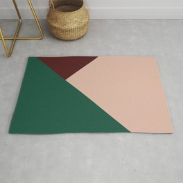 Burgundy and Green Geometric Rug