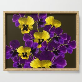 Purple And Yellow Flowers On A Dark Background #decor #buyart #society6 Serving Tray