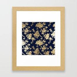 Elegant vintage navy blue faux gold flowers Framed Art Print