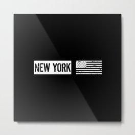 Black & White U.S. Flag: New York Metal Print