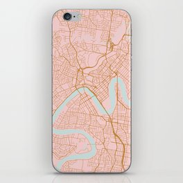 Pink and gold Brisbane map iPhone Skin