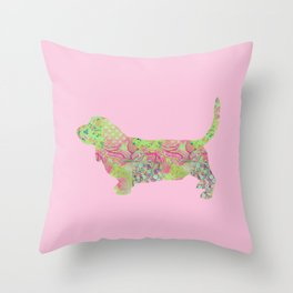 Bassett Hound Vintage Floral Pattern Pink Green Mint Shabby Chic Throw Pillow