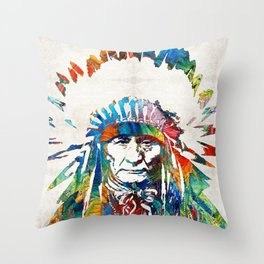 Native American Art - Chief - By Sharon Cummings Throw Pillow