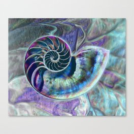 Iridescent Shell Snail Fossil Canvas Print