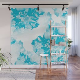 Beautiful Peony Flowers White Background Turquoise Blue Version #society6 #decor #buyart Wall Mural