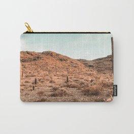Saguaro Mountain // Vintage Desert Landscape Cactus Photography Teal Blue Sky Southwestern Style Carry-All Pouch
