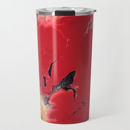 Pressure - Red, gold and black fluid acrylic abstract painting Travel Mug