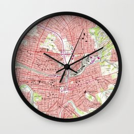 Vintage Map of Roanoke Virginia (1963) 2 Wall Clock