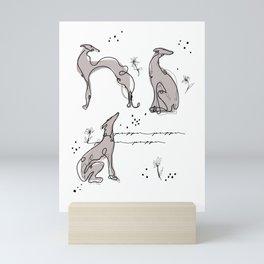 elegant greyhounds Mini Art Print