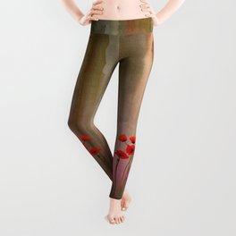 Watercolor Poppies Leggings