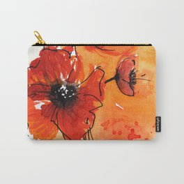 Red Poppy Flowers Watercolor Painting Carry-All Pouch