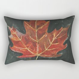 Fall Red Maple Leaf Black Background Rectangular Pillow