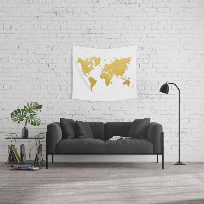 Gold world map wall tapestry by bysamantha society6 gold world map wall tapestry gumiabroncs Image collections