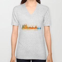 Moscow City Skyline art HQ v3 Unisex V-Neck