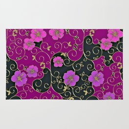 Gold Metallic, Purple Floral on Black Rug