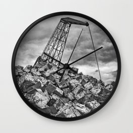 Crane with scrap metal Wall Clock