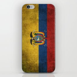 Old and Worn Distressed Vintage Flag of Ecuador iPhone Skin