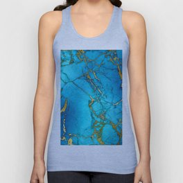 Gold And Teal Blue Indigo Malachite Marble Unisex Tank Top