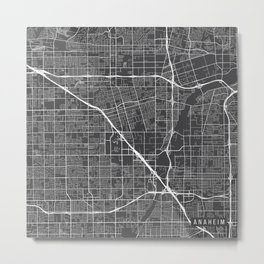 Anaheim Map, USA - Gray Metal Print