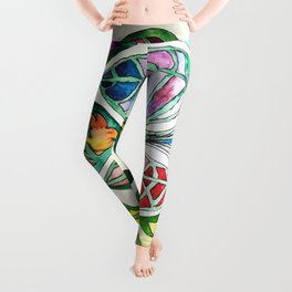 Abstract Leaf Colors Leggings