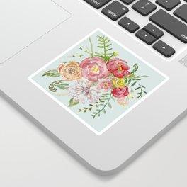 Bouquet of Spring Flowers Light Aqua Sticker